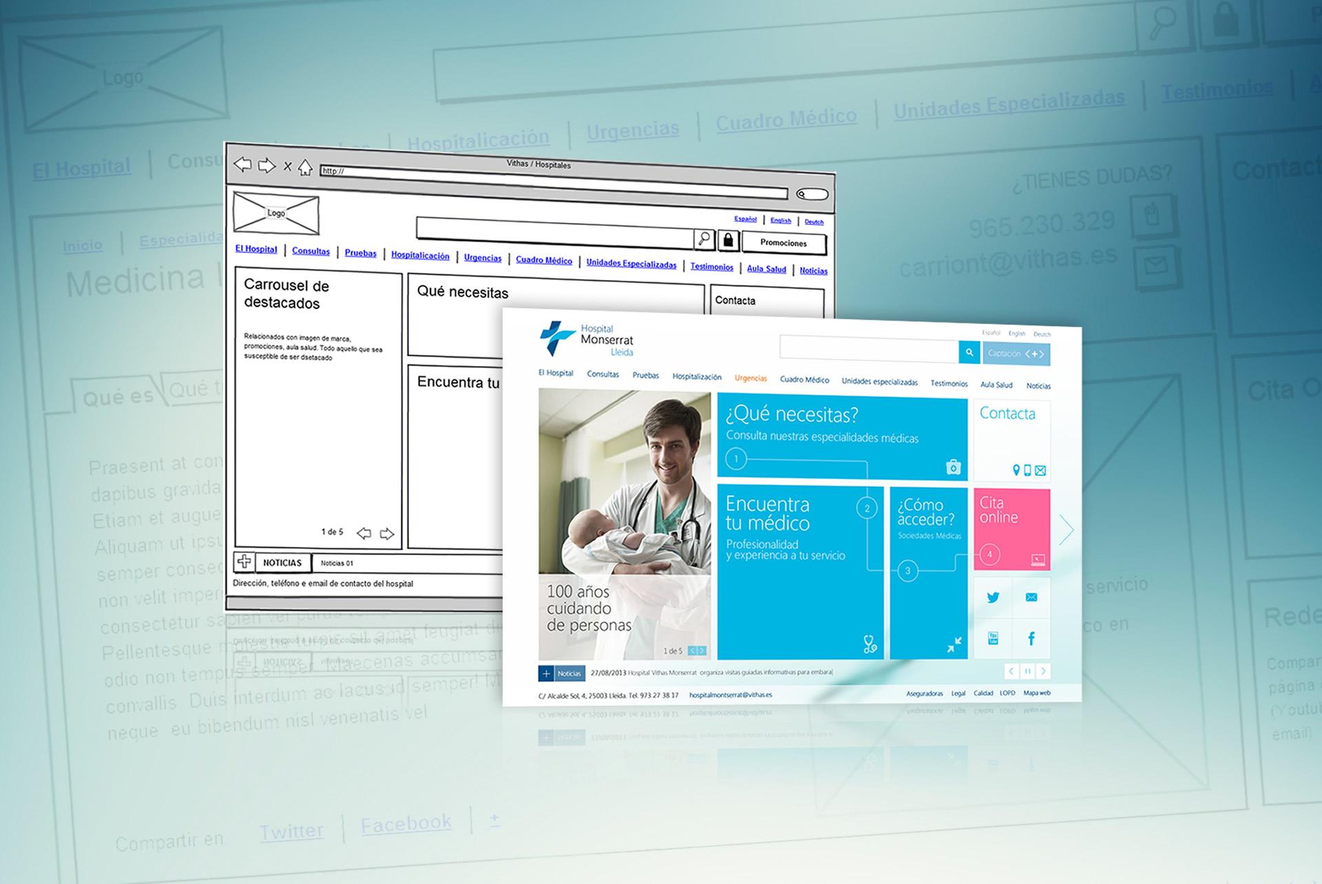 Website vithas. Prototipado y wireframing