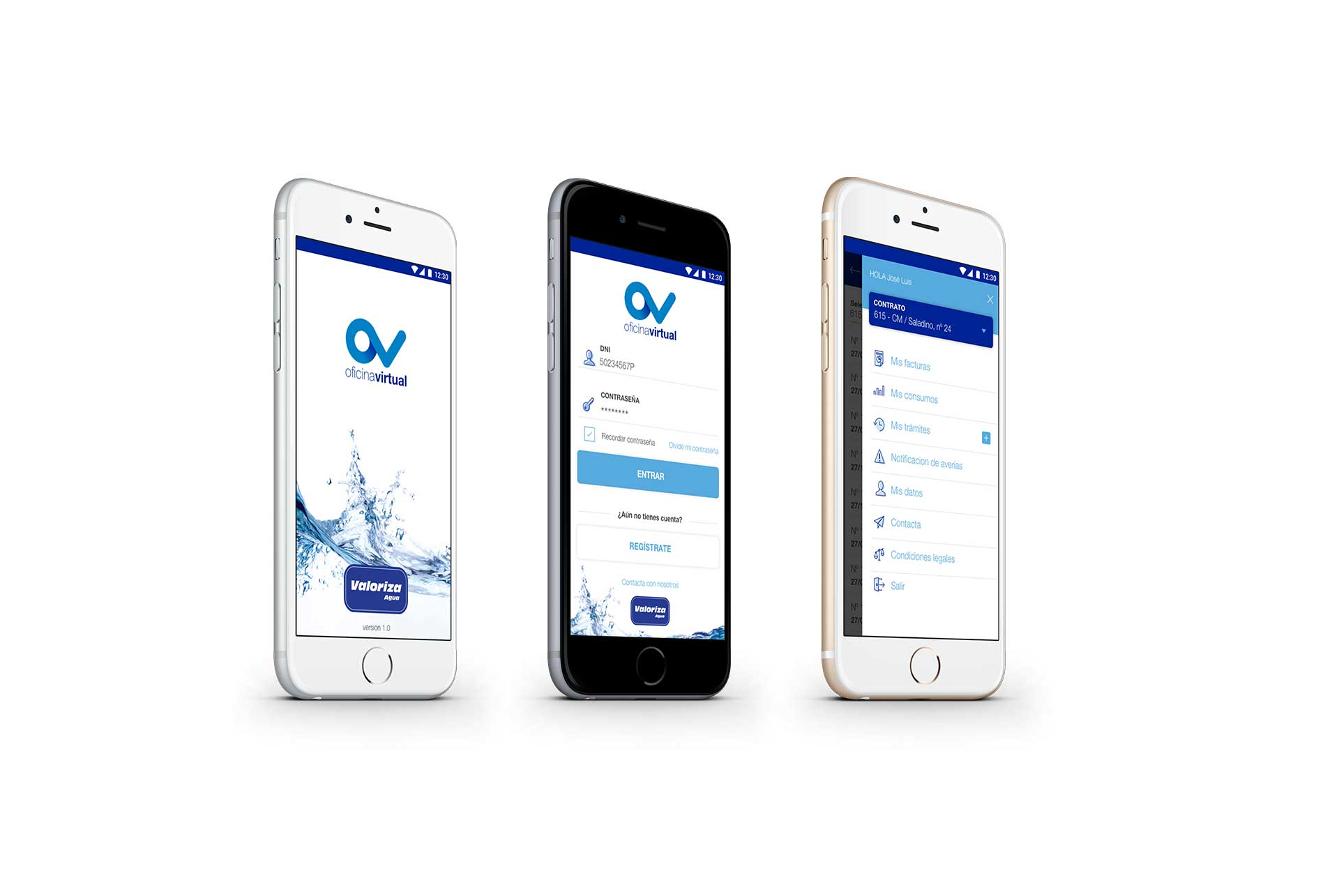 Sacyr Valoriza Agua. Oficina Virtual. App mobile
