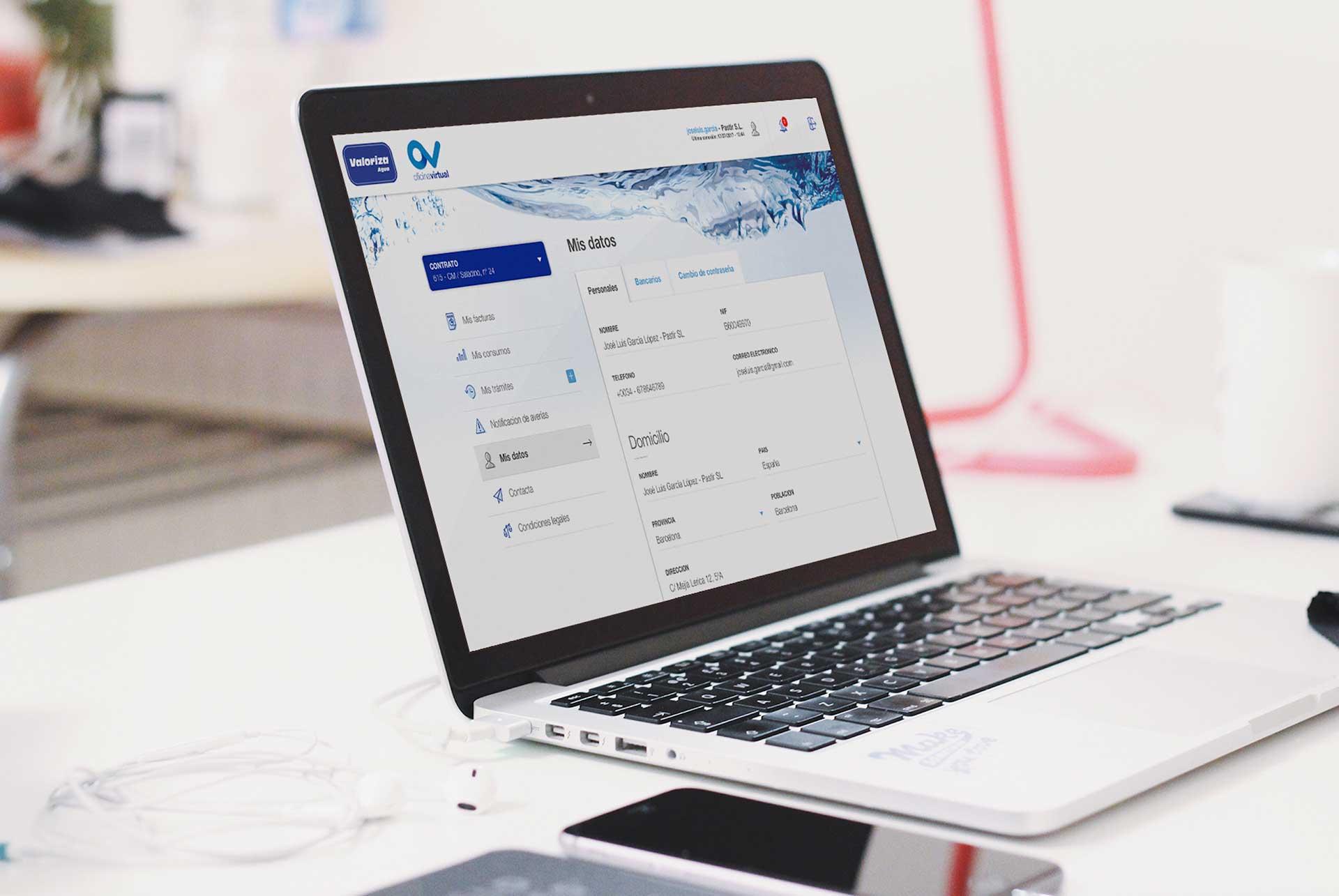 Sacyr Valoriza Agua. Oficina Virtual. Web responsive