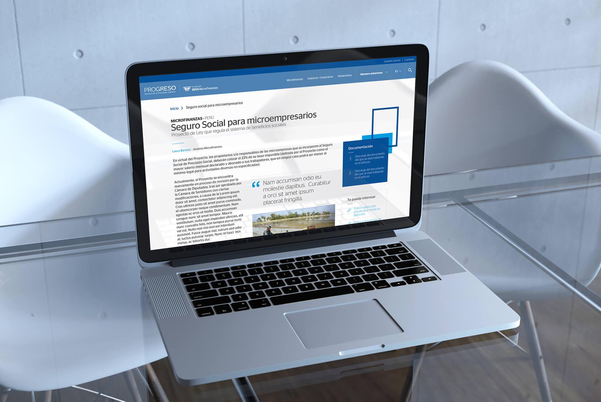 Ilustrativo desktop. BBVA Microfinanzas (BBVAMF). Revista Progreso. Actualidad microfinanzas y gobierno corporativo