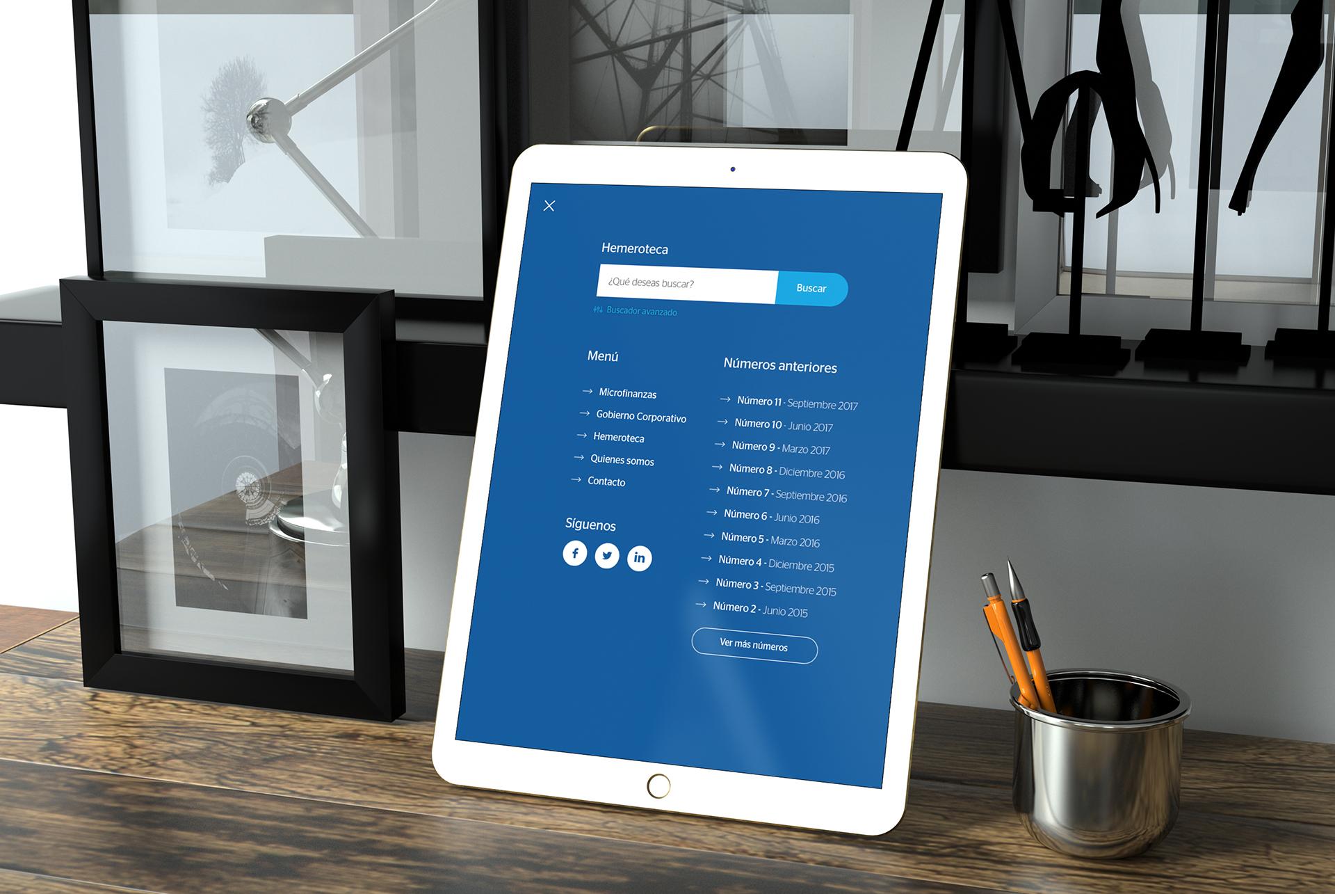 Ilustrativo tablet. BBVA Microfinanzas (BBVAMF). Revista Progreso. Actualidad microfinanzas y gobierno corporativo