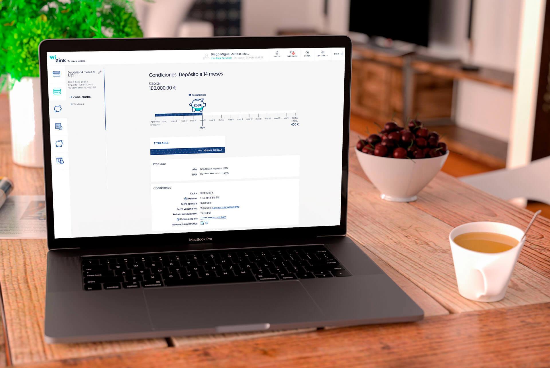 WiZink. Conceptualización UX, diseño UI y maquetación front DEPÓSITO