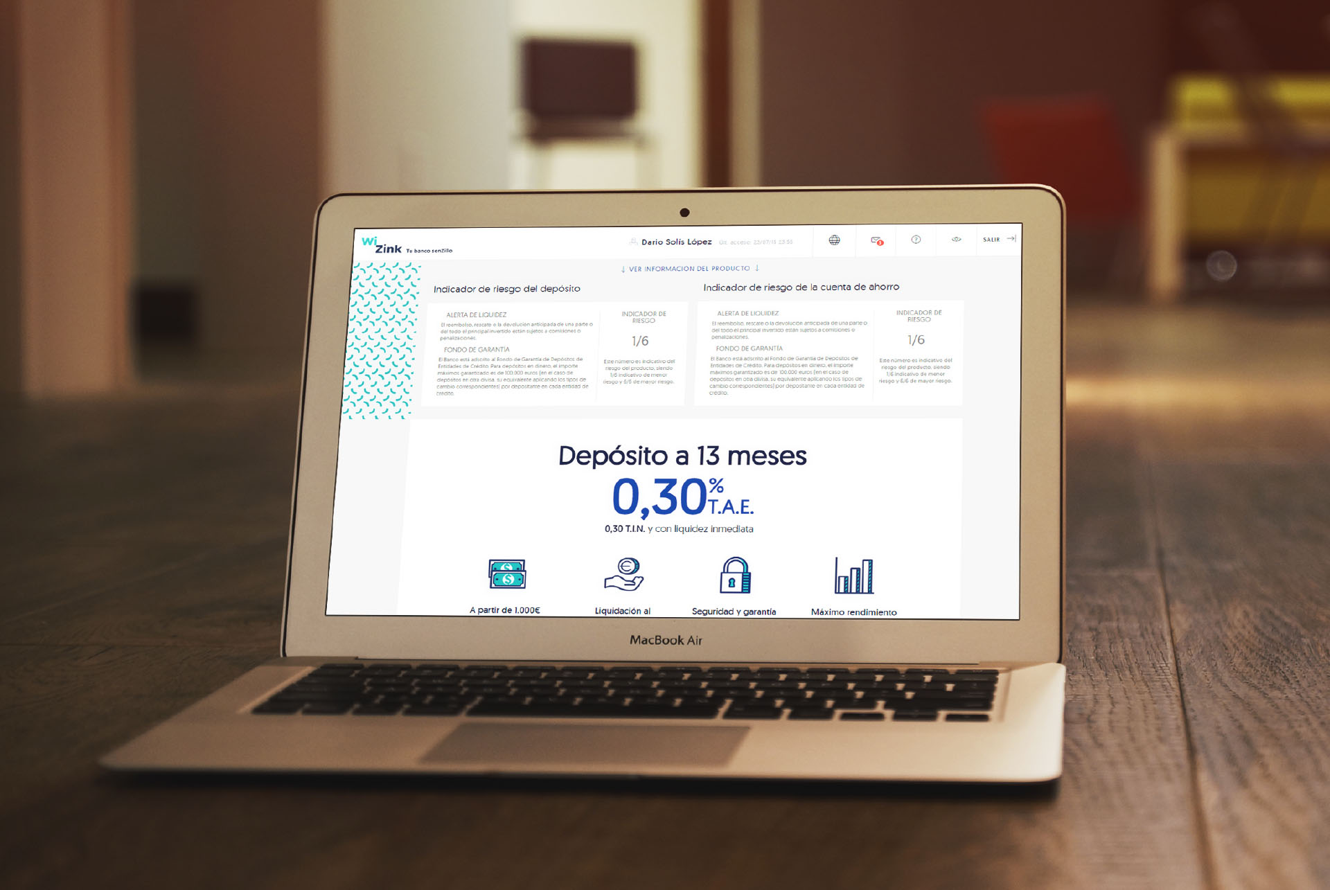 WiZink. Conceptualización UX, Diseño UI y maquetación front area privada depósitos