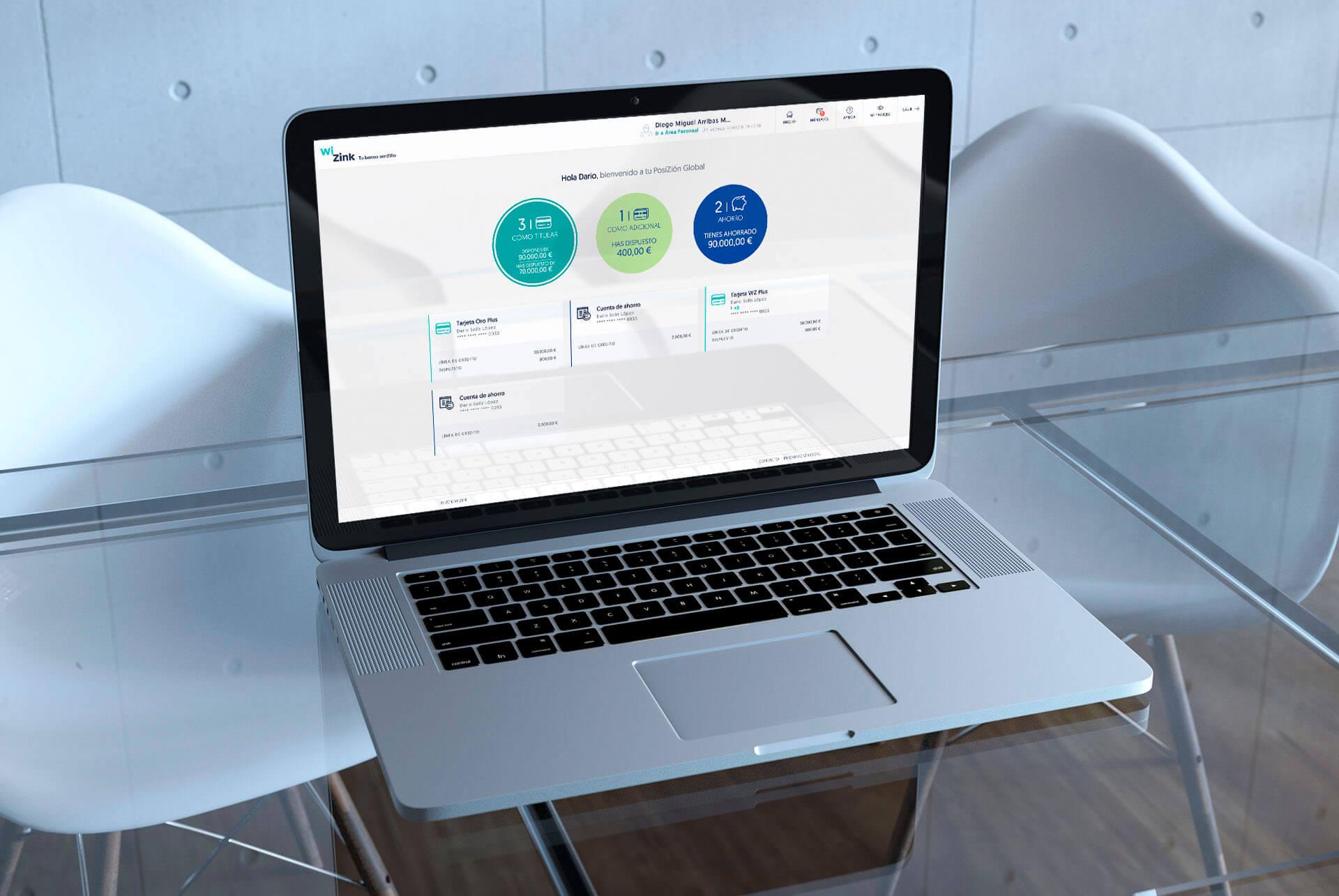 WiZink. Conceptualización UX, diseño UI y maquetación front. HOME